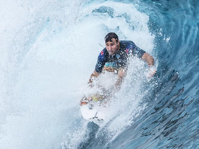 Joel Parkinson during his round one win in Tahiti. Picture: Kelly Cestari