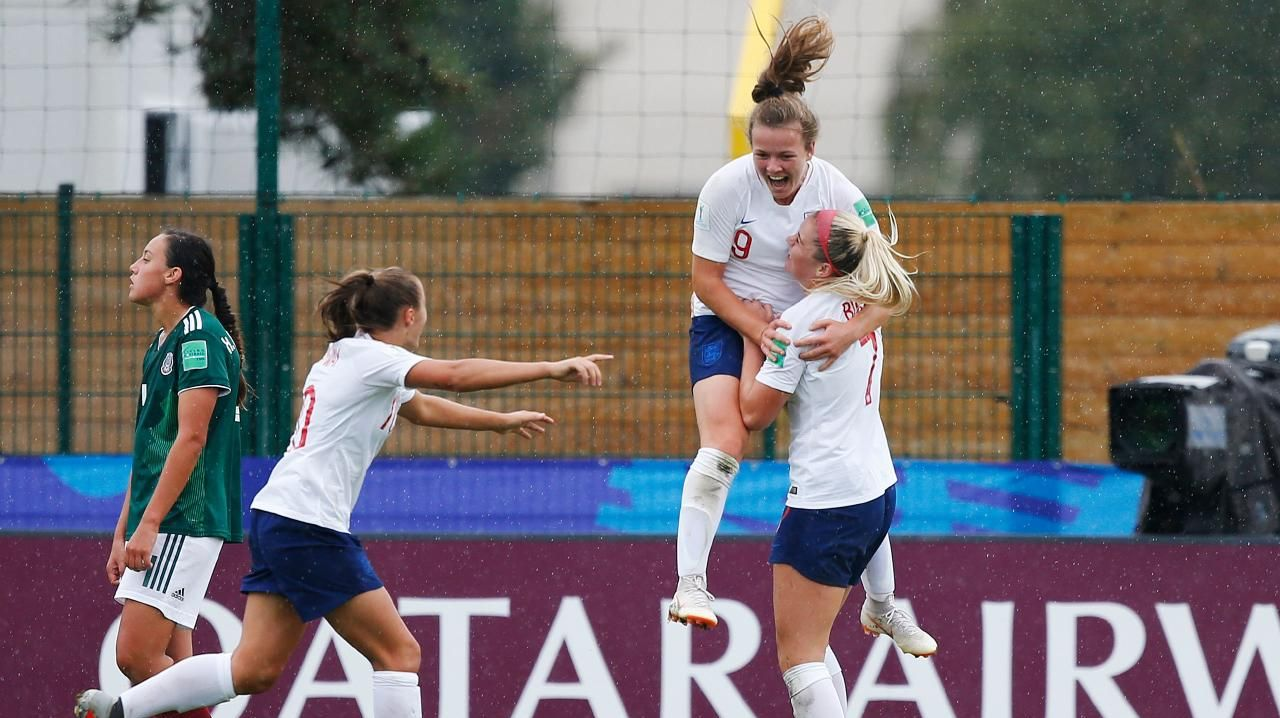 England's Lauren Hemp celebrates after scoring a goal during the women's World Cup. (Photo by CHARLY TRIBALLEAU / AFP)