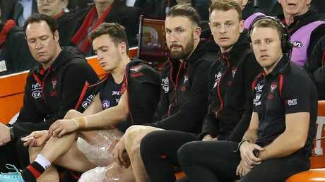 Injured Bombers Orazio Fantasia, Cale Hooker and Brendon Goddard on the bench. Picture: Michael Klein