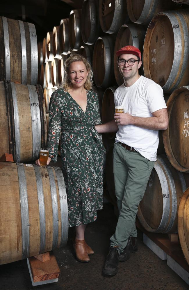 Brewer Topher Boehm with wife Bernadette at Wildflower in Marrickville. Picture: Justin Lloyd.