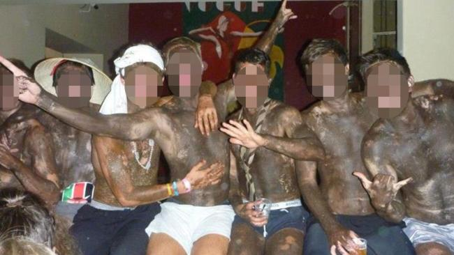 Students from St Marks college have been depicted dressing up in a racist manner.