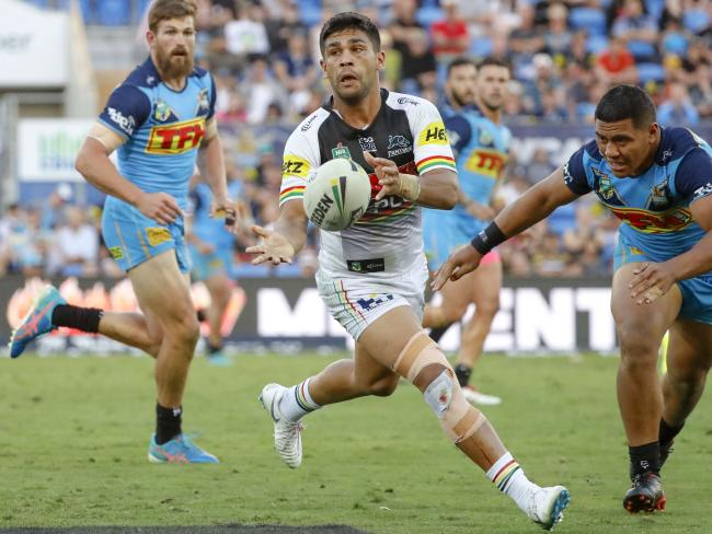 Tyrone Peachey's media interview on Monday was cut short by a Penrith official. Picture: Glenn Hunt/AAP