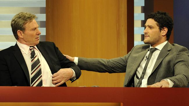 Brendan Fevola during his first appearance on The Footy Show with Sam Newman since his infamous Brownlow Medal segment.