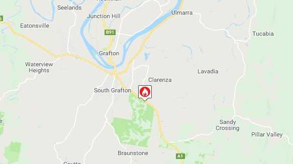 A bushfire in Bom Bom State Forest is causing visibility issues on the Pacific Highway near South Grafton