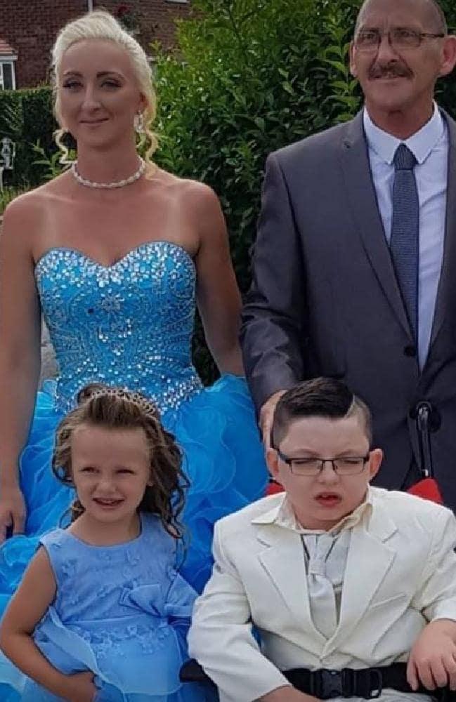 Logan Mountcastle, bottom right, 'married' his mum Joelean, top left. Picture: Joelean Mountcastle/Facebook.Source:Supplied