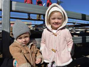 Jace and Piper Moore brave the cold wind to see some