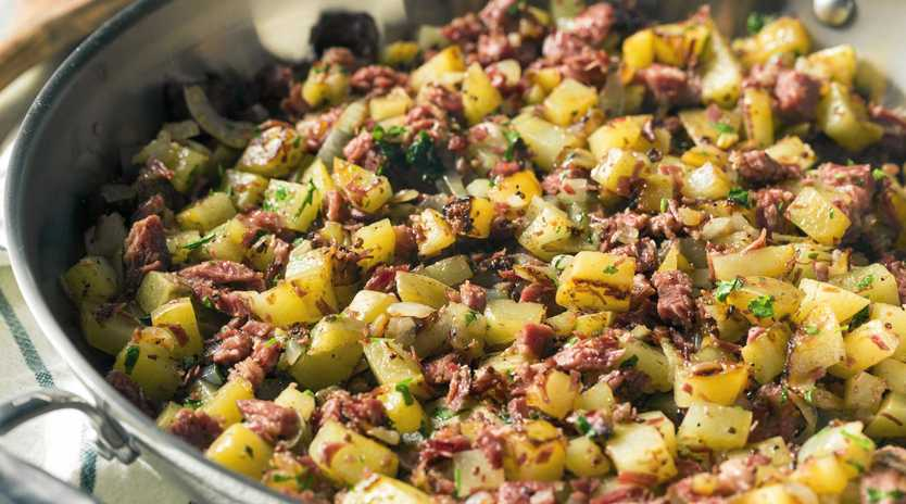 Use up leftover corned beef in this tasty breakfast hash.
