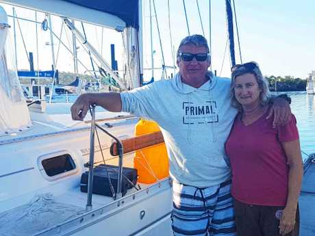 Les and Kathy Graham with thier 44 foot Beneteau.