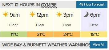 Tuesday's frosty start in Gympie will give way to warm and clear winter's day.