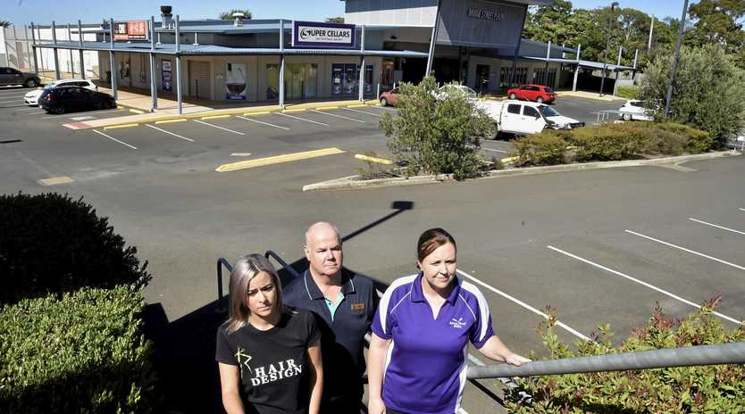 Bridge Street Plaza tenants have struggled since IGA closed. From left; Kristy Sharpley - R Hair Design, Peter Degnian - Plaza Pharmacy and Alison Reeves - Born & Bread Bakery.