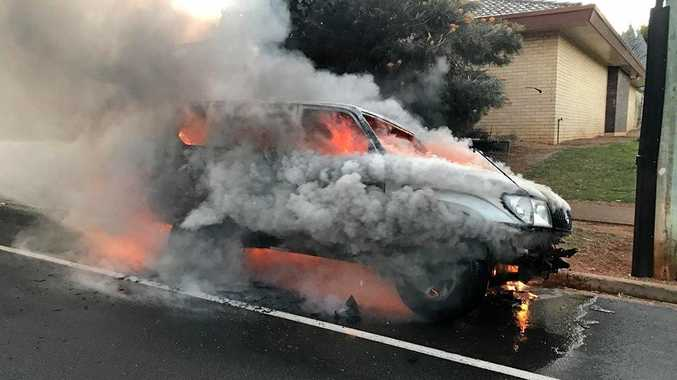 A car which was set alight and left engulfed in flames at Banora Point was extinguished by firefighters this morning.