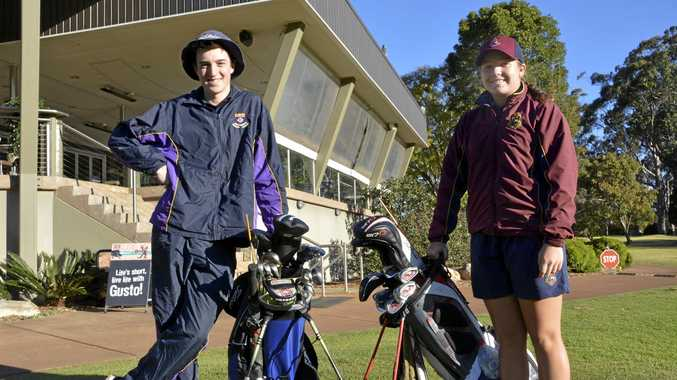 ON THE RISE: Toowoomba junior golfers Quinn Croker and Kamryn Dunemann will compete this month in the 2018 School Sport Australia under 17 Golf Championships at Coffs Harbour.