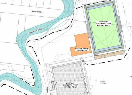 HOCKEY EXPANSION: Preliminary design plans for the second synthetic hockey turf at Kalka Shades, and a new raised clubhouse.