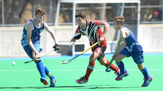 Regan Weatherhead playing for Rockhampton in the Queensland U15 Boys Hockey Championships at Kalka Shades.