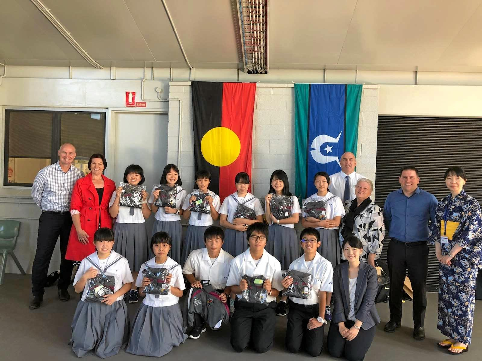 Students and teachers from Jonan High School in Saiki City with Member for Gladstone Glenn Butcher, Toolooa SHS teacher Bonnie Assman, Toolooa SHS principal Justin Harrison, Liz Cunningham (Patron of Toolooa SHS) and Mayor Matt Burnett.