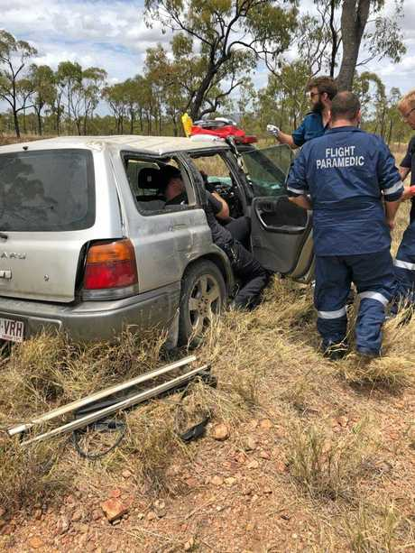 The chopper rescue service flew 70 minutes to retrieve a 45-year-old man who crashed on the Gregory Highway, 40 kilometres north of the Belyando Crossing Roadhouse and 200 kilometres south of Charters Towers on January 17.The remote location and limited access for emergency personnel meant the rescue helicopter was the best method of evacuation for the driver.The driver was taken to Mackay Base Hospital, where he underwent scans and further testing.