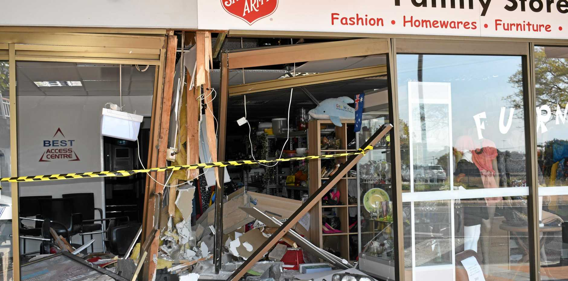 SUBSTANTIAL DAMAGE: A car crashed into the Salvation Army Family Store in Railway St, Gatton after on Monday, August 13.