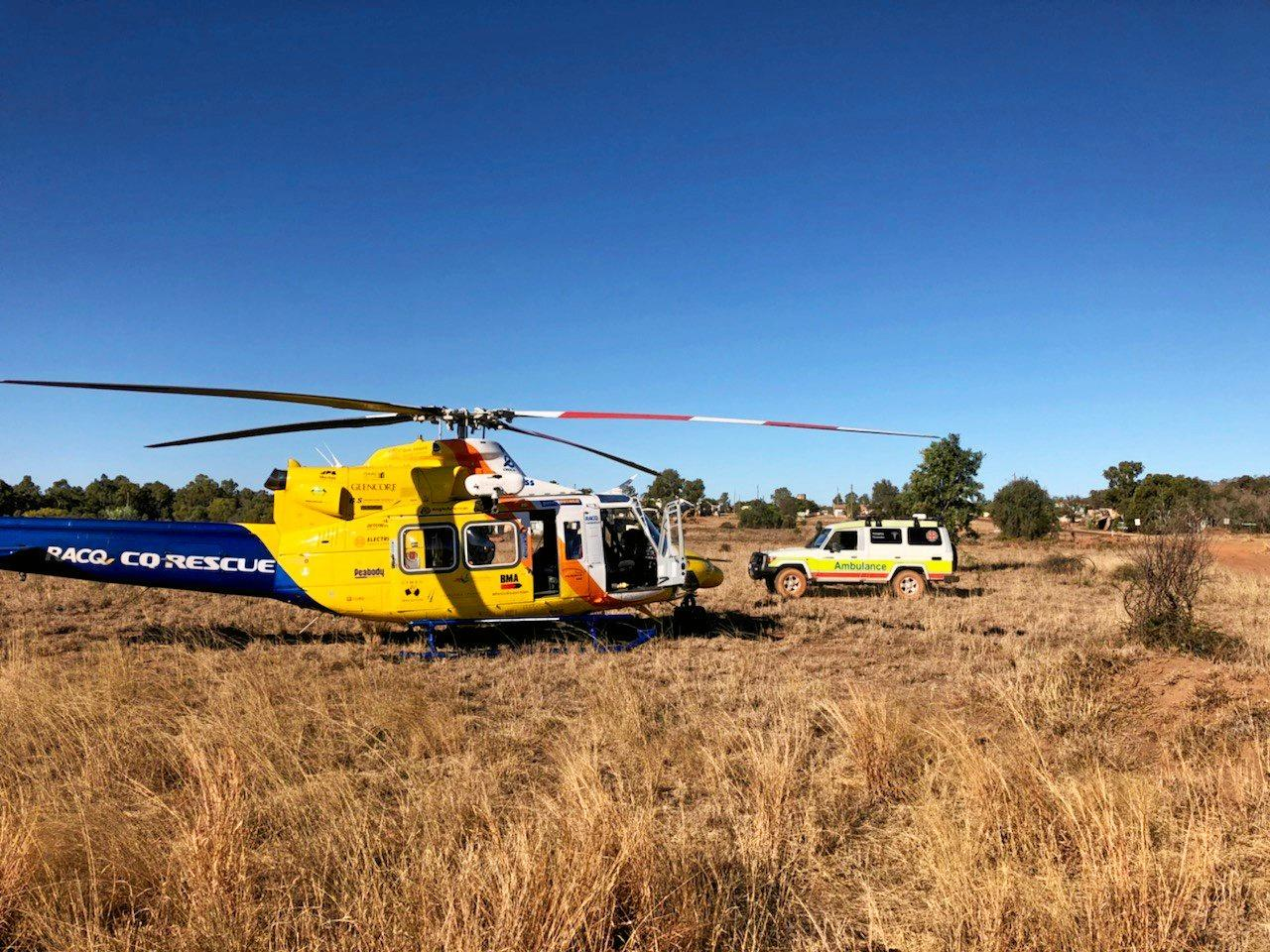 RACQ CQ Rescue landed on a property near Mt Coolon, about 262km west of Mackay, on Monday afternoon to transport a truck driver who was kicked in the head by a bull.