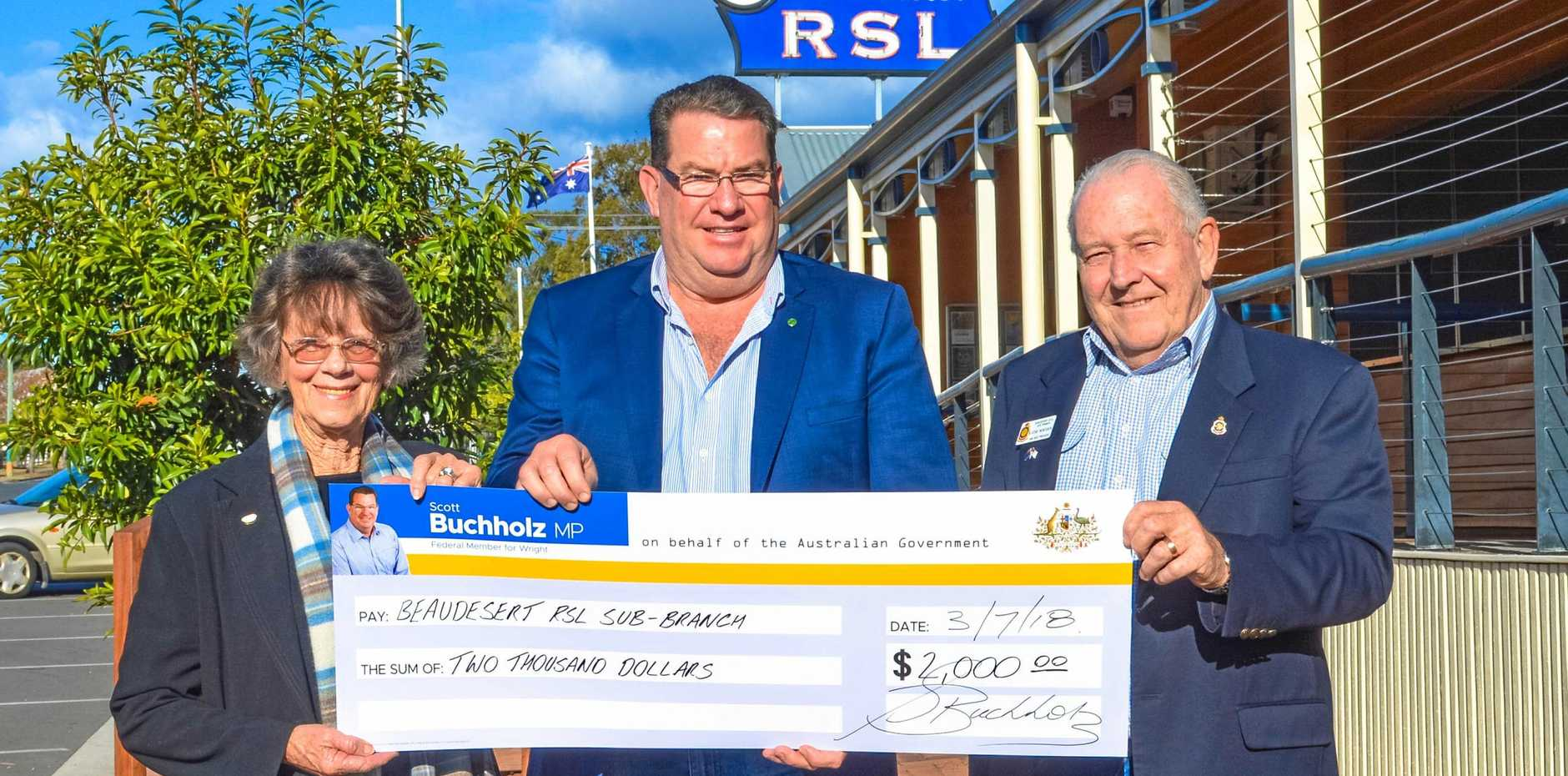 The Federal Government has given a $2000 grant to the Beaudesert RSL Sub Branch. Pictured are Carol Castles, Scott Buchholz and Steve Monteath.