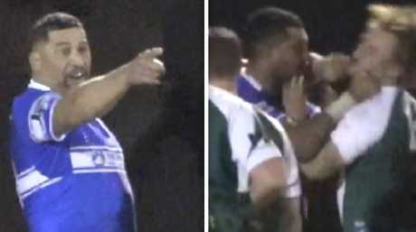 Left: John Hopoate threatens an opponent after punching him in a confrontation (right).