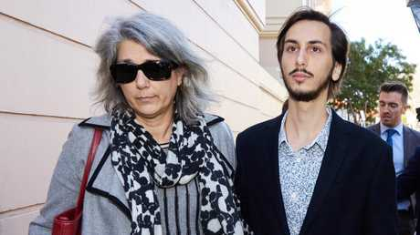 Miss Quinn's mother and brother leaving the Newtown Local Court in Sydney on Tuesday. Picture: AAP