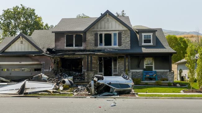 A Utah man flew a plane into his own home. Picture: Leah Hogsten/The Salt Lake Tribune via AP