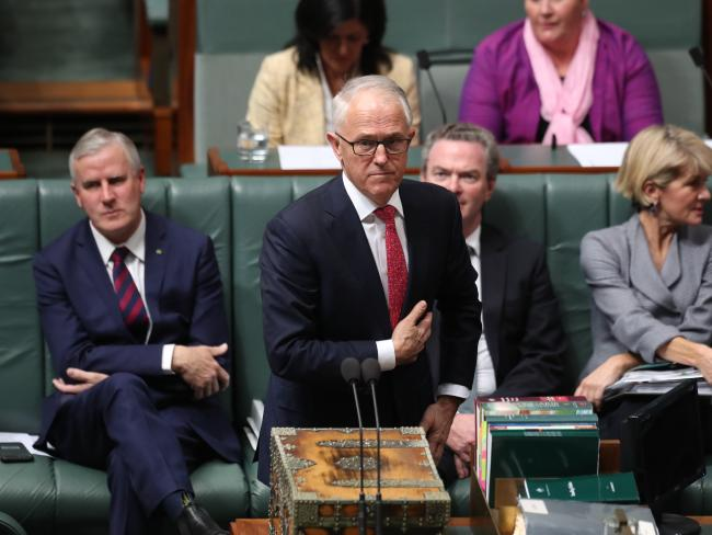 PM Malcolm Turnbull in Question Time yesterday. Picture Kym Smith