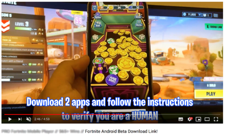 Hoax videos are luring Fortnite gamers to fork out cash to scammers. Picture: Screengrab from YouTube