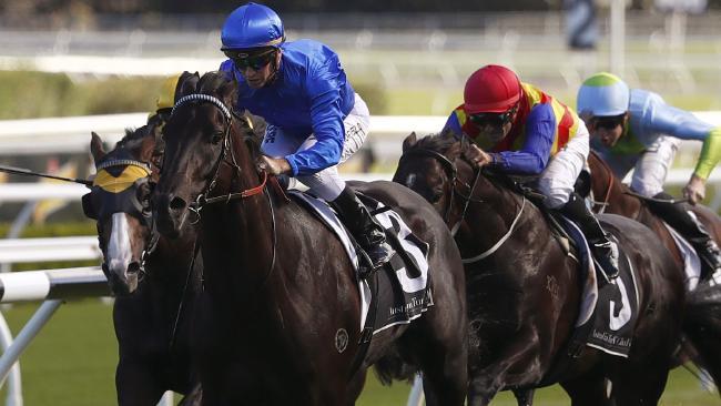 Jockey Glyn Schofield steers Kementari to victory in the Randwick Guineas. Picture: AAP