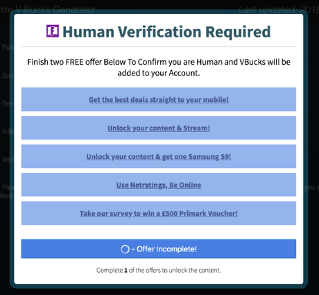 To secure 'free V-Bucks', users need to perform a series of verification tasks — which do nothing but line scammers' pockets. Picture: Screengrab