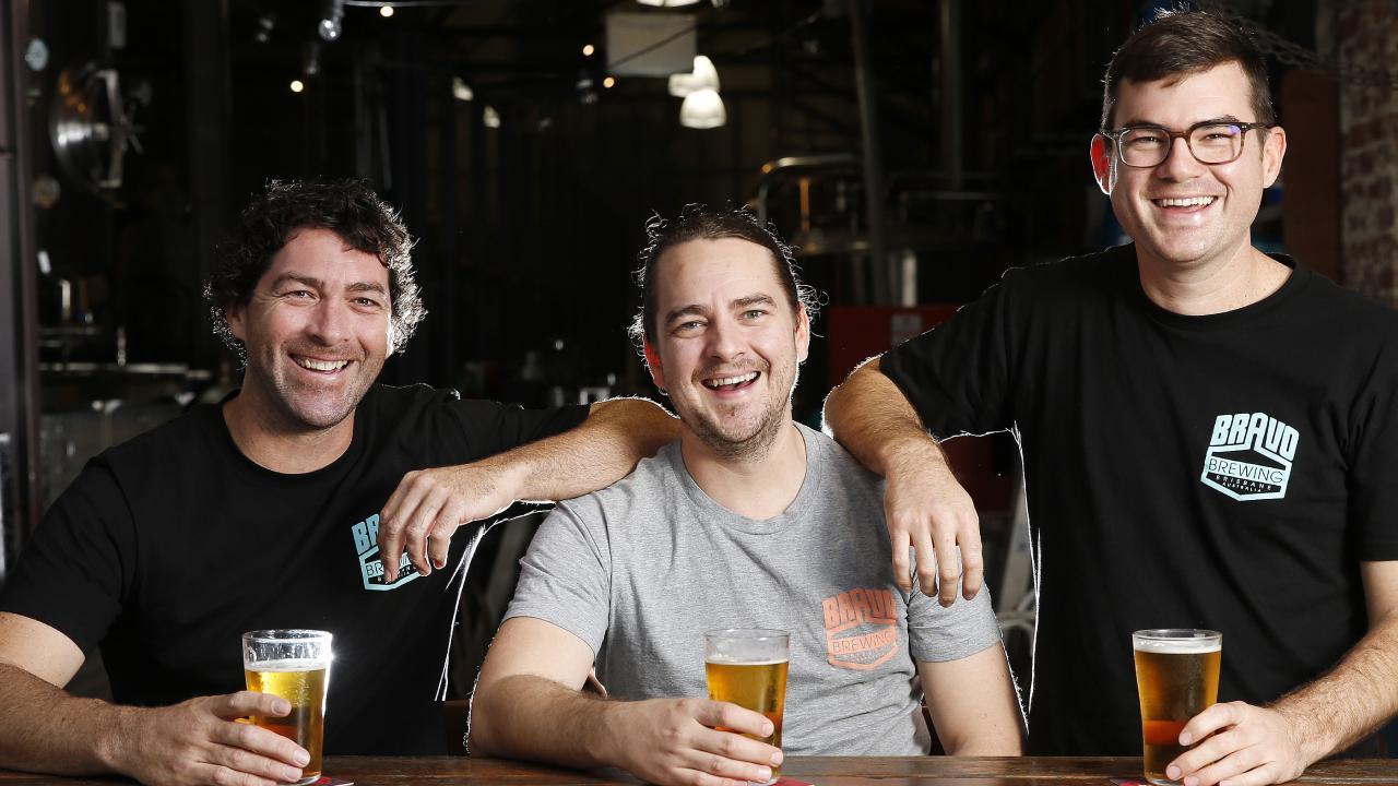 Brant, Jarrett and Tysen Bravo of Bravo Brewing. Picture: AAP/Josh Woning