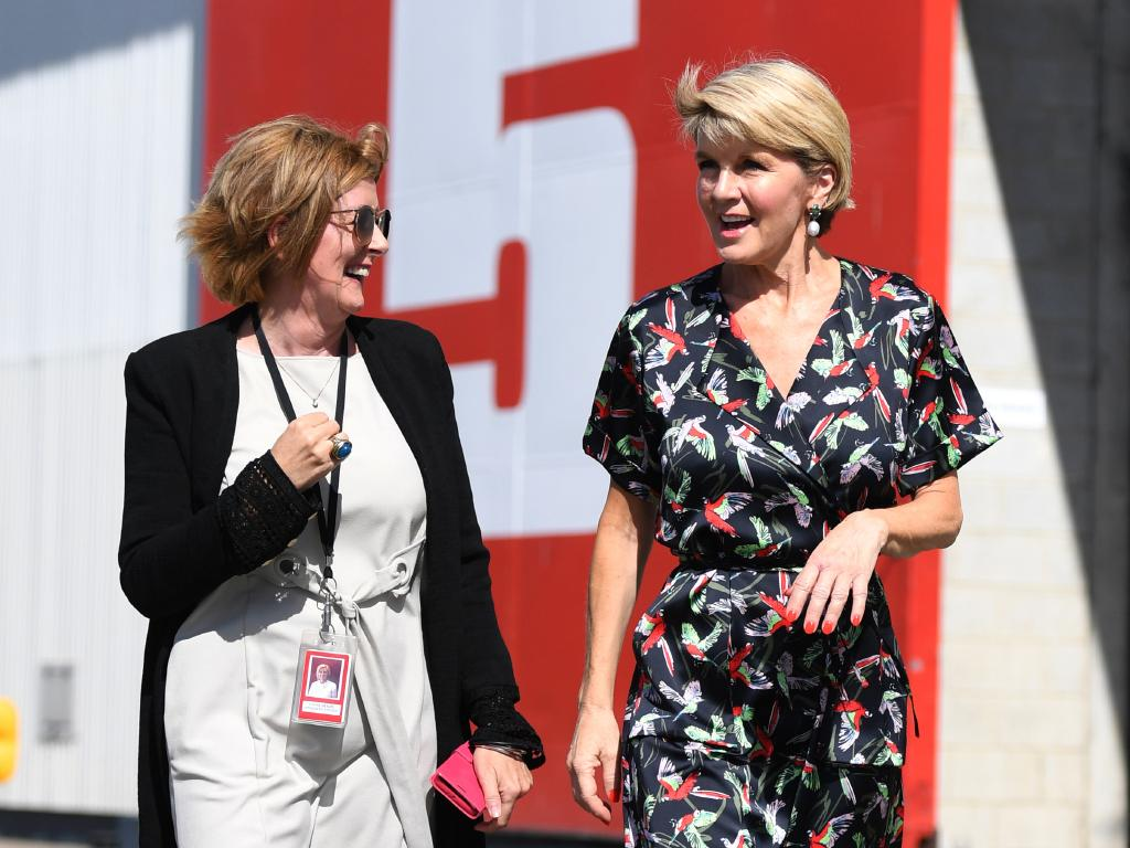 Village Roadshow Studios president Lynne Benzie and Minister for Foreign Affairs Julie Bishop at Village Roadshow Studios in May following the $140 million funding announcement. AAP Image/Dan Peled.