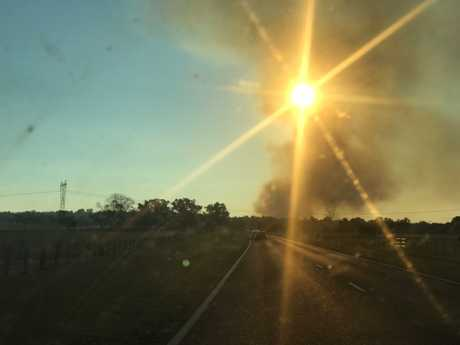 A plume of smoke from a fire near the Gwydir Highway.