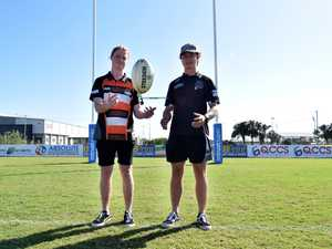 Wests' Reece Thornton and Magpies' Beau Brownsey at