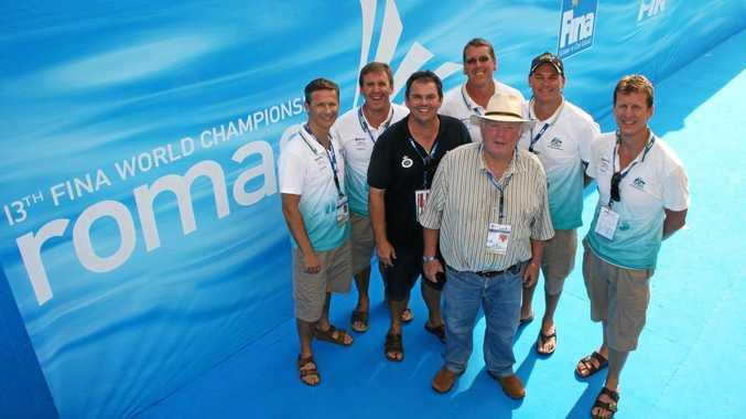 SWIMMING IMMORTAL: Bill Sweetenham with Craig Botcher, Michael Bohl, Michael Piper, Matthew Brown, Rohan Taylor and David Wilson in Rome.