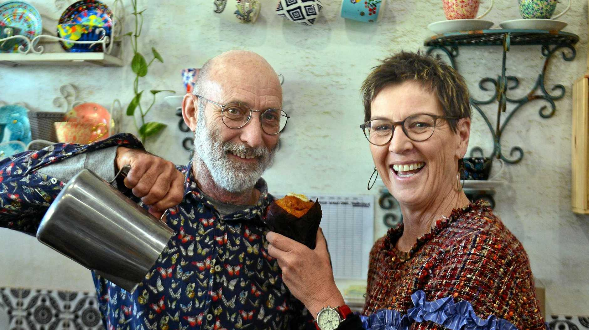 HEART OF COOLUM: David Pocock and Gaye Williams celebrate being in business for 14 years in Coolum.
