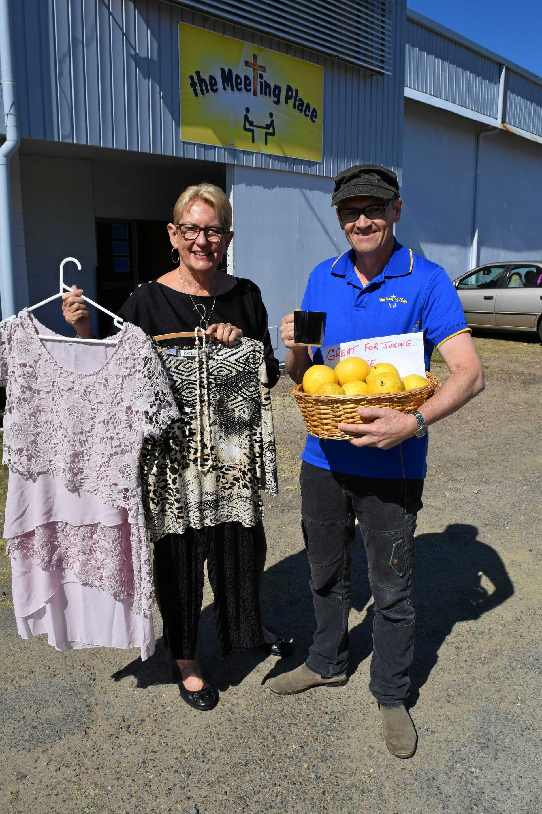 Chris Laughton from the Maryborough RV Homebase loves volunteering at The Meeting Place in between her travelling, pictured with caretaker Stephen Berry.