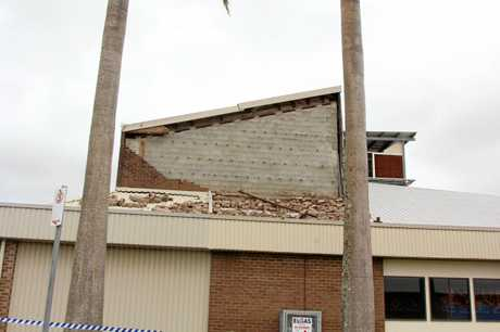 The Proserpine Entertainment Centre showing damage to the roof the day after Debbie hit.