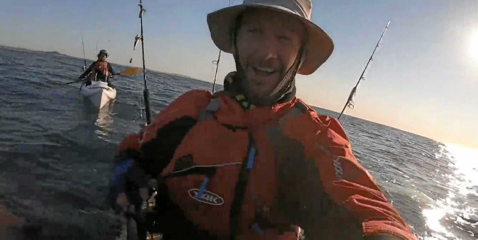 Jason Milne captured his close encounter with a whale while fishing off Coolum on Tuesday.