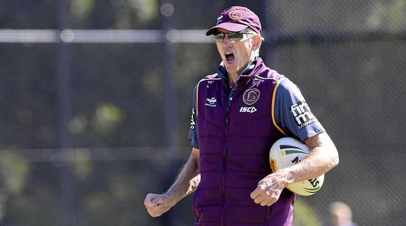 Broncos coach Wayne Bennett directs proceedings at training on Monday in Brisbane.