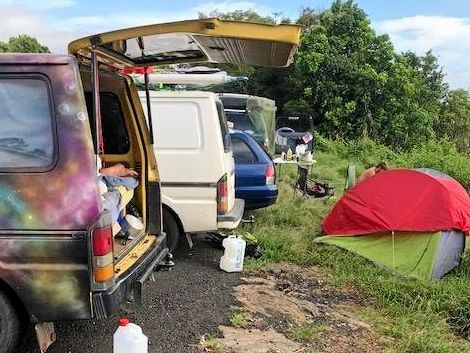 Illegal camping in Byron Bay.