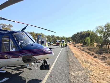 A crash involving a car and a truck on the Capricorn Hwy, about 150km west of Rockhampton.