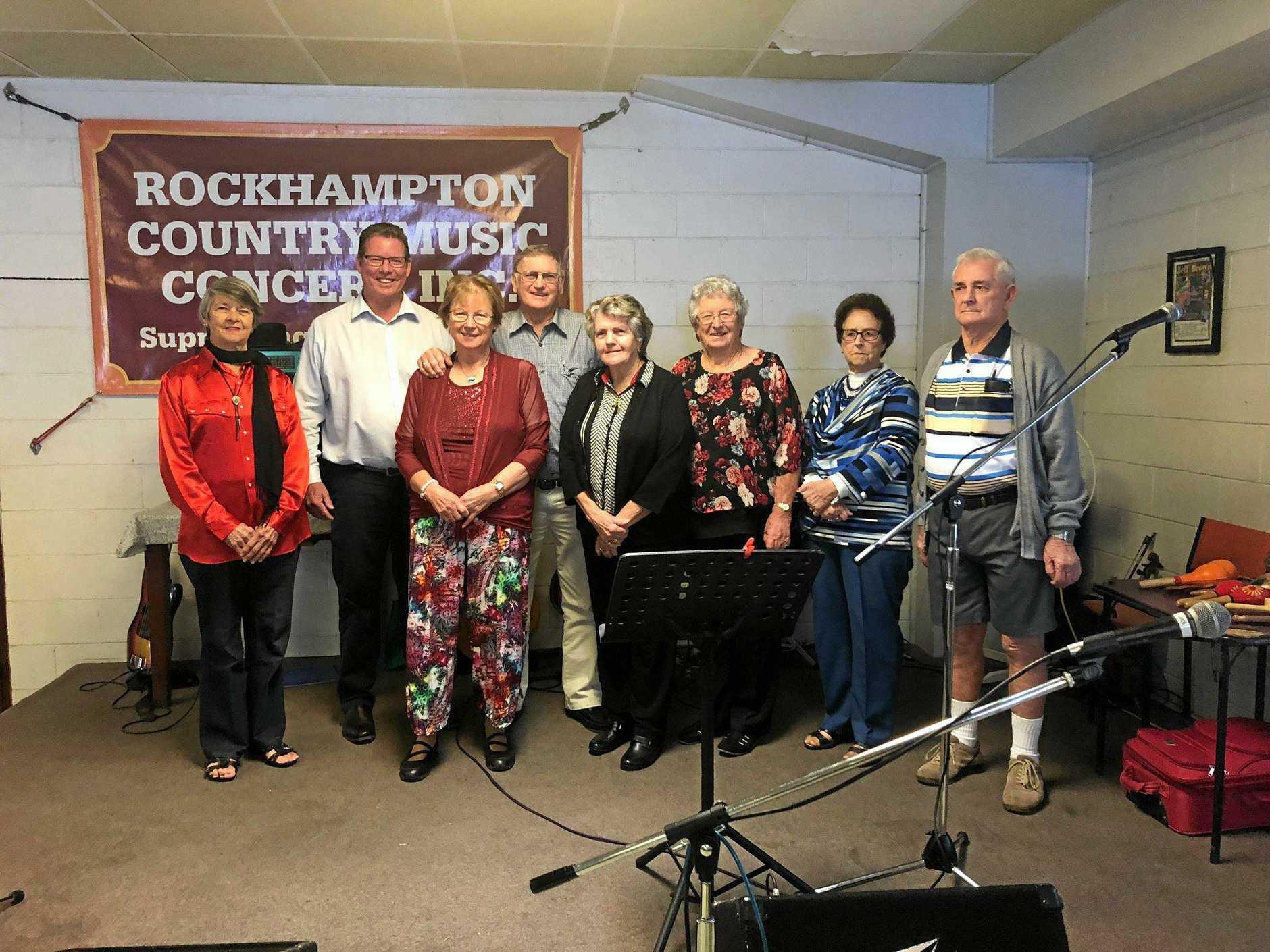 CARING FOR THEIR COMMUNITY: L-R: Elaine Pedersen, Barry O'Rourke, Leanne & Neville Johnson, Dawn Anderson, Nell Healy, Bev & Len Harris