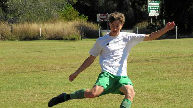 Byron Bay High School's Alby Kay in the Bill Turner Cup round of 16 match against Coffs Harbour's St John Paul College at Byron Bay High on Tuesday.