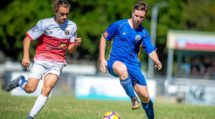 ON THE BALL: Gympie Gladiators player Dylan Moore shows off his fancy footwork in a match against Caloundra FC.