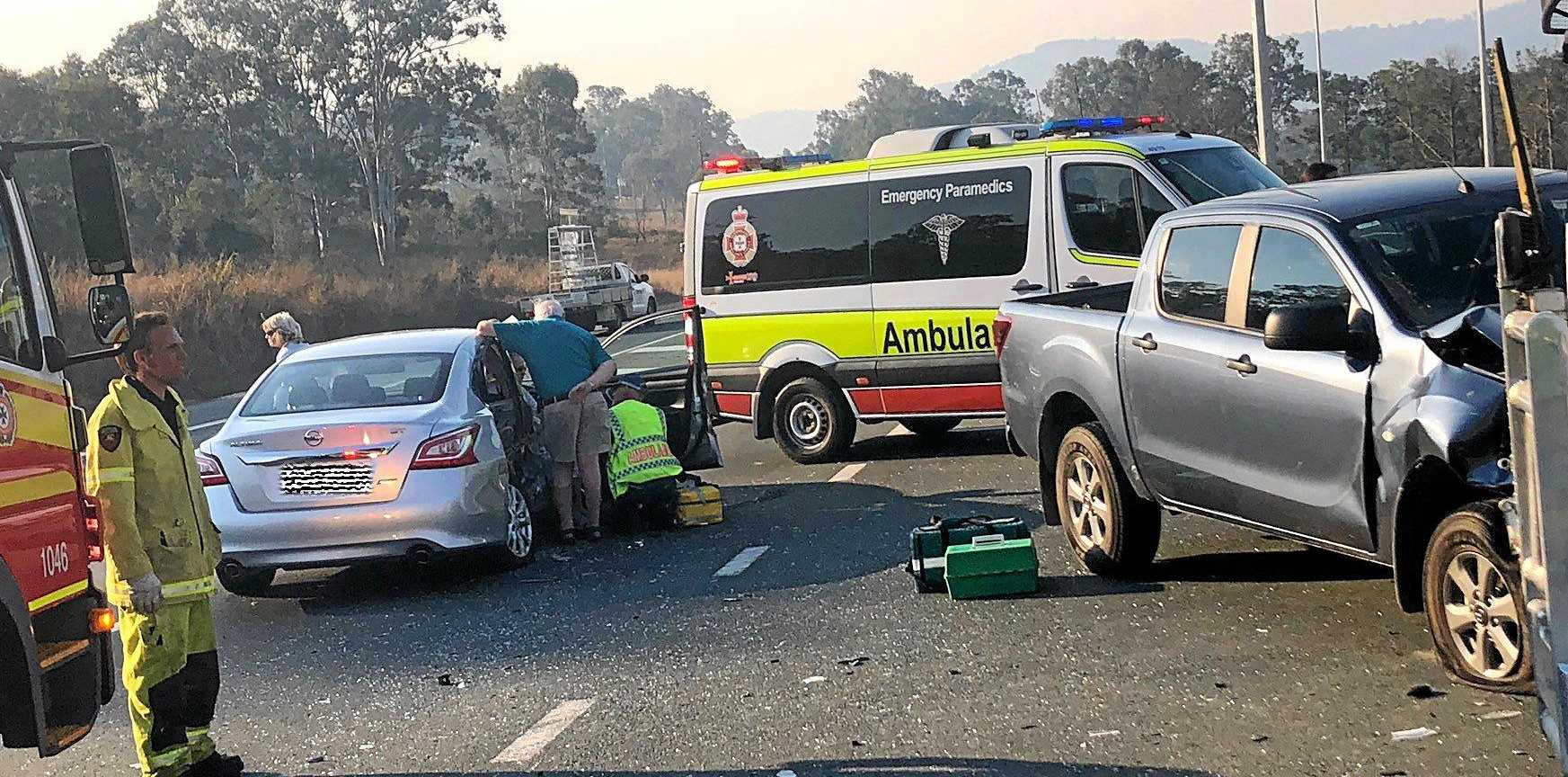 Accident on the Bruce Highway at the United Service Station at Gunalda.