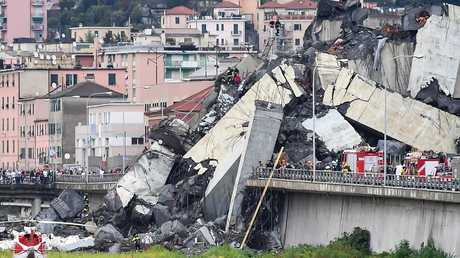 A general view of the Morandi bridge which collapsed on August 14, 2018 in Genoa, Italy. Picture: Getty Images