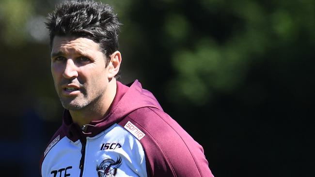 Manly-Warringah Sea Eagles coach Trent Barrett during a training session in Sydney, Wednesday, September 6, 2017. The Sea Eagles take on the Penrith Panthers in week 1 of the NRL Finals Series at Lottoland on Saturday. (AAP Image/Dean Lewins) NO ARCHIVING