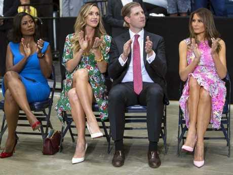 Omarosa Manigault Newman pictured with Lara Trump, Eric Trump and Melania Trump in 2017. Picture: AP