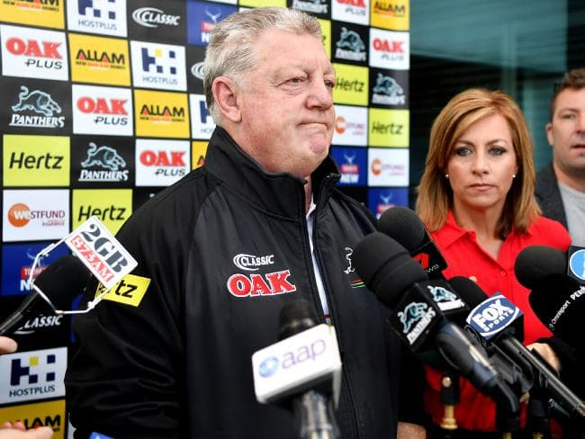 Penrith Panthers general manager Phil Gould speaks to the media during a press conference in Sydney, Tuesday, August 7, 2018. Gould said Penrith have received a dozen job applications, including some from rival NRL head coaches, since their decision to sack Anthony Griffin. (AAP Image/Joel Carrett) NO ARCHIVIN